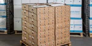 Hydratek Gel packs on pallet in warehouse